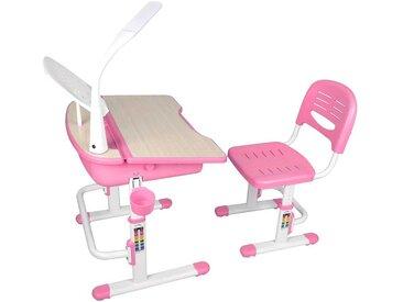 Kinderschreibtisch mit Stuhl in Rosa Weiß höhenverstellbar (2-teilig)