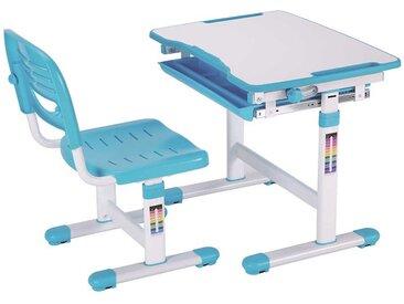 Höhenverstellbarer Kinderschreibtisch mit Stuhl Blau Weiß (zweiteilig)
