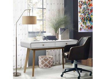 Skandi Design Schreibtisch in Weiß und Holz Naturfarben 120 cm breit