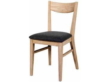 Holzstuhl Set aus Eiche Massivholz Grau Stoff (2er Set)