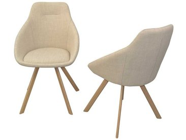 Armlehnenstuhl in Beige aus Webstoff und Metall (2er Set)