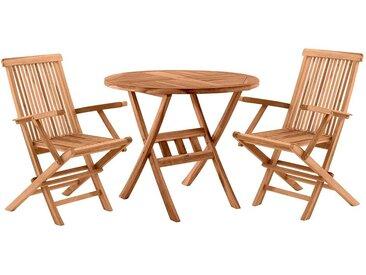 Balkonmöbel Set aus Teak Massivholz klappbar (3-teilig)