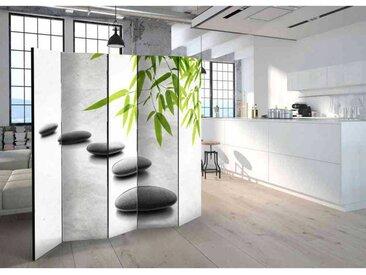 Paravent mit Steinen und Bambus Zen Design