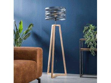 Stehlampe aus Massivholz und Metall Industriedesign