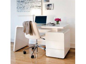 Schreibtisch mit Weiß Glas Stauraum