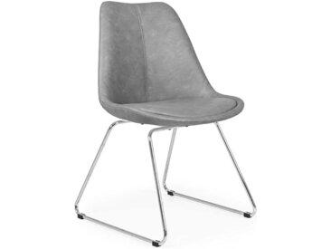 Schalen Küchenstühle in Grau Kunstleder Metallbügeln (2er Set)