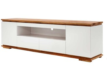 Design TV Board in Weiß Asteiche Massivholz