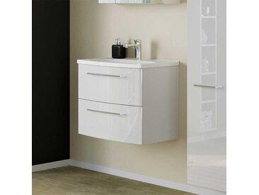 Hochglanz Waschtischunterschrank in Weiß zwei Schubladen