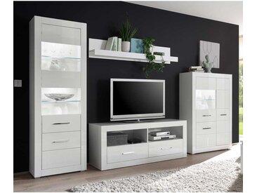 Hochglanz Wohnkombination in Weiß 315 cm breit (vierteilig)