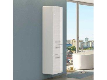 Badezimmer Seitenschrank in Weiß Hochglanz 180 cm hoch
