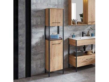 Badmidischrank im Loft Style Wildeiche Dekor und Stahl in Anthrazit