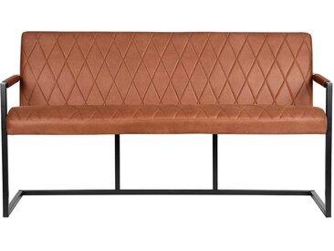 Esszimmersitzbank in Cognac Braun Microfaser Loft Design