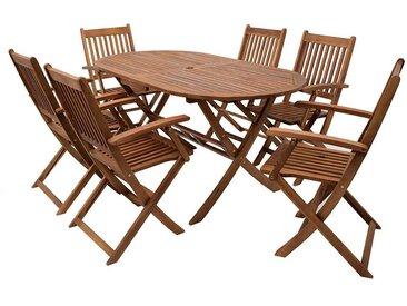 Gartentischgruppe mit ovalem Tisch klappbaren Stühlen (7-teilig)
