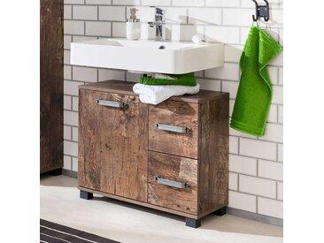 Design Waschbeckenschrank in Holzpaletten Optik 65 cm breit