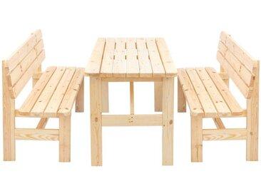 Balkonmöbel Set aus Kiefer Massivholz 2 Bänken (3-teilig)