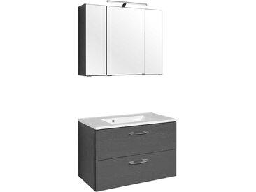 Badezimmer Kombination in Graphit Grau Waschtisch (2-teilig)