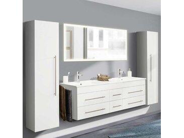Hochglanz Badezimmer Set mit Doppel Waschtisch Weiß (4-teilig)
