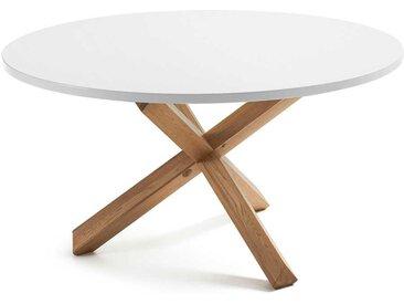 Küchentisch in Weiß und Eiche Masssivholz runder Tischplatte