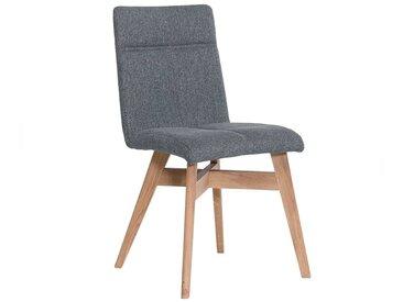 2 Stühle in Grau Webstoff Massivholzgestell aus Eiche (2er Set)