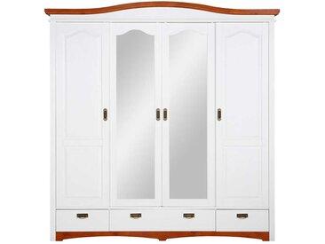 Landhaus Schebetürenschrank in Weiß und Kirschbaumfarben Spiegeltüren