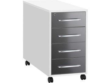 Abschließbarer Rollcontainer in Weiß Grau Hochglanz vier Schubladen