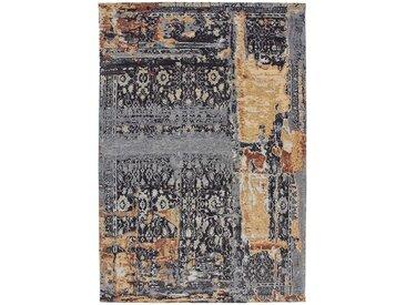 Vintage Teppich mit abstraktem Muster Dunkelblau und Beige