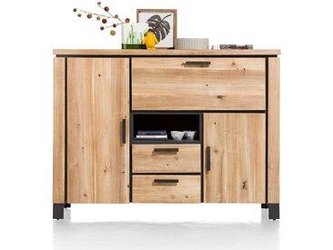 Schreibtisch Schrank aus Akazie Massivholz LED Beleuchtung
