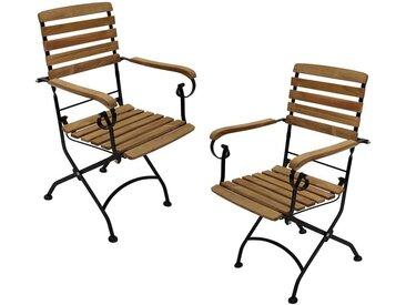 Balkon Klappsessel aus Teak Massivholz Stahl (2er Set)