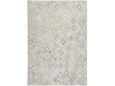 Patchwork Teppich aus Echtfell Creme Weiß und Silberfarben