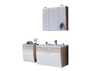 Badezimmer Komplettset in Weiß Hochglanz Eiche hell hängend (3-teilig)