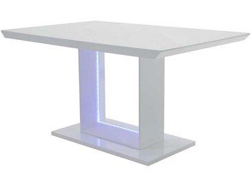 Hochglanzesstisch in Weiß LED Beleuchtung