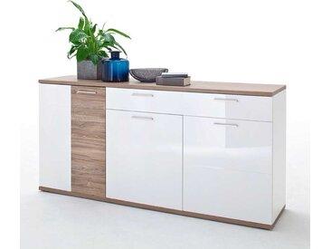 Sidebord Hochglanz in Weiß und Eiche Dekor 180 cm breit
