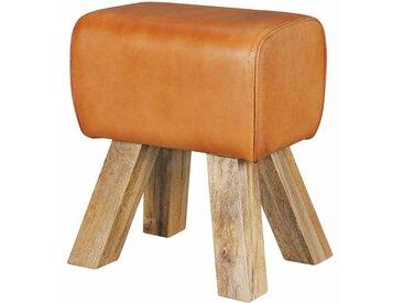 Retro Sitzhocker in Braun Leder Holzbeine