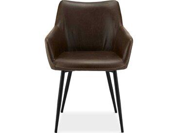 Armlehnenstühle in Dunkelbraun Kunstleder Metallgestell (2er Set)