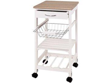 Küchenwagen mit Flaschenablage Weiß