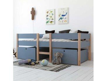 Kojenbett Blau aus Pinie Massivholz und MDF Bettkasten