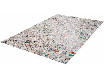 Patchwork Teppich in Bunt kurzem Echtfell