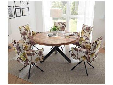 Design Esstischgruppe mit rundem Esstisch Samtstühlen mit Blumenmuster (6-teilig)