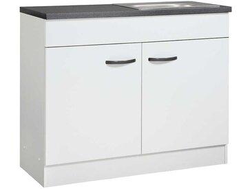 Spülenunterschrank in Weiß und dunkel Grau 100 cm breit