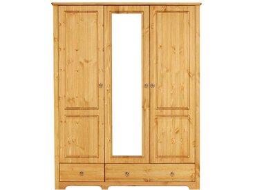 Massivholz Kleiderschrank aus Kiefer geölt Spiegeltür