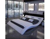 Geschwungenes Polsterbett in Weiß Kunstleder LED Beleuchtung