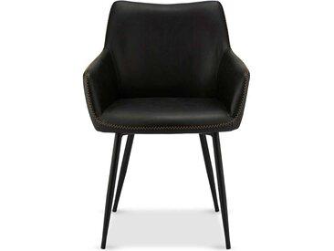 Armlehnen Esszimmerstühle in Schwarz Kunstleder modern (2er Set)