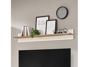 Wohnzimmer Wandboard in Weiß und Wildeiche Optik Skandi Design