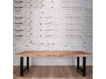 Esszimmertisch aus Akazie Massivholz Bügelgestell in Schwarz