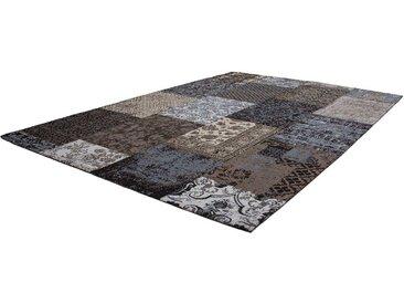 Vintage Teppich aus Chenillegewebe Blau und Braun