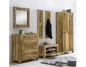Shabby Chic Garderobenmöbel aus Mangobaum Massivholz 250 cm breit (sechsteilig)