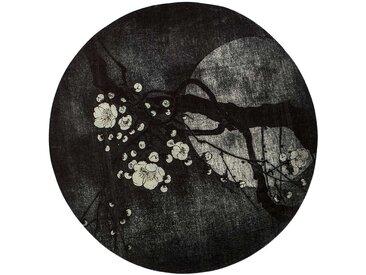 Runder Teppich mit Kirschblüten Motiv Schwarz und Grau