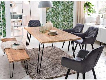 Baumkanten Esstischgruppe aus Akazie White Wash massiv Sitzbank (sechsteilig)