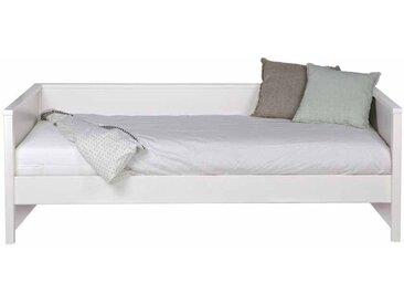 Kojenbett in Weiß Kiefer massiv Bettkasten