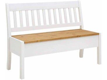 Sitzbank mit Truhe Weiß Kiefer massiv